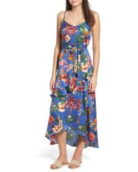 Band Of Gypsies - Gabriella Floral Satin Dress - Lyst