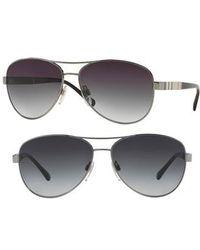 Burberry - 59mm Aviator Sunglasses - Lyst