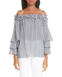Michael Kors - Gingham Tiered Sleeve Off The Shoulder Top - Lyst