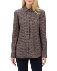 Lafayette 148 New York - Scottie Globetrotter Triangles Silk Jacquard Blouse - Lyst
