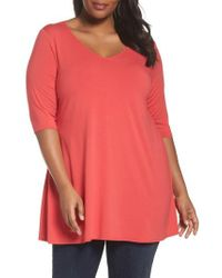 Eileen Fisher - V-neck Jersey Tunic - Lyst