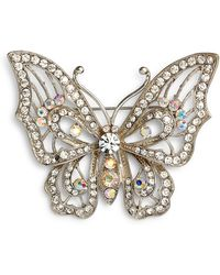 Nina - Openwork Pave Butterfly Brooch - Lyst