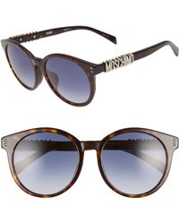 Moschino - 54mm Special Fit Mirrored Round Sunglasses - - Lyst