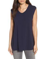 Eileen Fisher   U-neck Stretch Jersey Tunic   Lyst