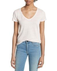 Majestic Filatures - Stretch Linen V-neck Tee - Lyst