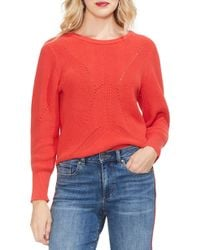 Lyst - Vince Camuto Cotton Laced-back Sweater in Black - Save 40% fca59bace
