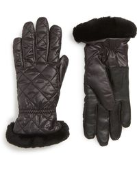 UGG - Ugg All Weather Touchscreen Compatible Quilted Gloves With Genuine Shearling Trim - Lyst
