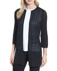 Ming Wang - Studded Pointelle Sweater Jacket - Lyst