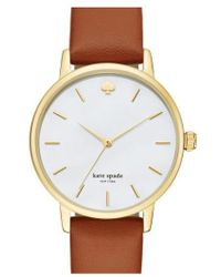 Kate Spade | 'metro' Round Leather Strap Watch | Lyst