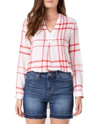 Liverpool Jeans Company Plaid Popover Top