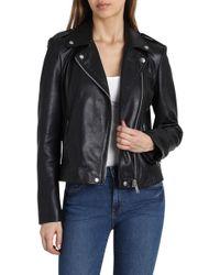 Badgley Mischka - Washed Leather Moto Jacket - Lyst