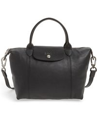 Longchamp - Small 'le Pliage Cuir' Leather Top Handle Tote - - Lyst