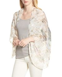 Ted Baker - Ammara - Sea Of Clouds Small Silk Cape Scarf - Lyst