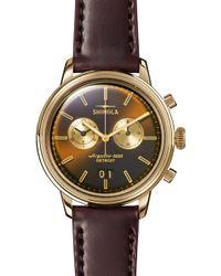 Shinola - Bedrock Chronograph Leather Strap Watch - Lyst