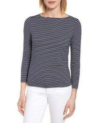 Anne Klein | Stripe Boatneck Shirt | Lyst