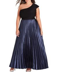 City Chic - Rosa One Shoulder Pleat Maxi Dress - Lyst