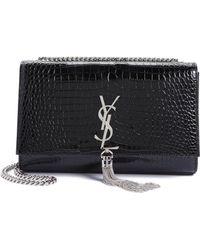 Saint Laurent - Medium Kate Stamped Croc Leather Crossbody Bag - Lyst