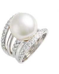 Majorica - 16mm Round Simulated Pearl Cubic Zirconia Ring - Lyst