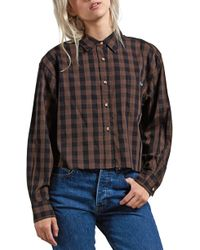 Volcom - Dare 2 Bloom Long Sleeve Button Down Flannel Shirt - Lyst