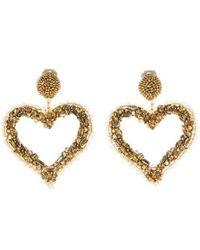 Oscar de la Renta - Beaded Heart Earrings - Lyst
