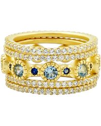 Freida Rothman Imperial Blue Set Of 5 Stackable Rings