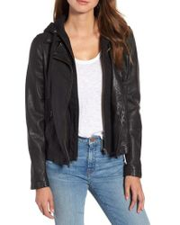 Caslon - Caslon Leather Moto Jacket With Removable Hood - Lyst
