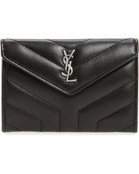Saint Laurent - Small Loulou Matelassé Leather Wallet - Lyst