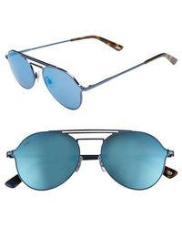 Web - 56mm Aviator Sunglasses - Shiny Blue/ Blue Mirror - Lyst