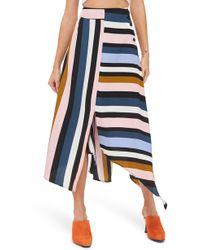 TOPSHOP - Multi Stripe Asymmetric Midi Skirt - Lyst