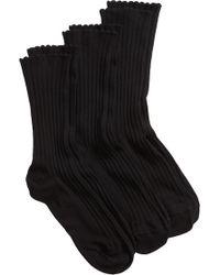 Hue - 3-pack Scalloped Rib Crew Socks - Lyst