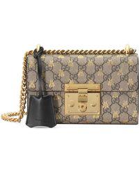 Gucci - Gold GG Bees Padlock Small Shoulder Bag - Lyst 9428bcd67e4da