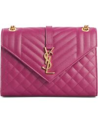 38d70363de Saint Laurent - Medium Cassandre Calfskin Shoulder Bag - Purple - Lyst