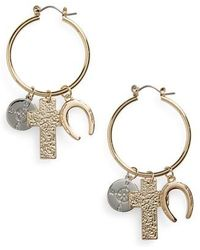 TOPSHOP - Charm Hoop Earrings - Lyst