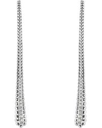 Lagos - Sterling Silver Signature Caviar Diamond Threader Earrings - Lyst