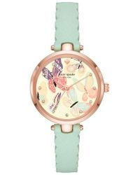 Kate Spade - Holland Butterfly Leather Strap Watch - Lyst