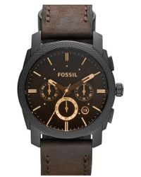 Fossil - Round Chronograph Leather Strap Watch - Lyst