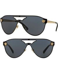 Versace   42mm Shield Mirrored Sunglasses   Lyst