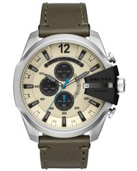 DIESEL | Diesel Mega Chief Chronograph Leather Strap Watch | Lyst