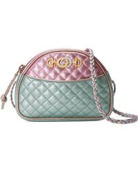 530f7f14f3a Gucci - Pink And Blue Laminated Leather Mini Bag - Lyst. Gucci - Small  Quilted Leather Shoulder ...
