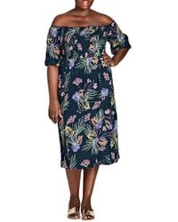 City Chic - Island Floral Off The Shoulder Midi Dress - Lyst