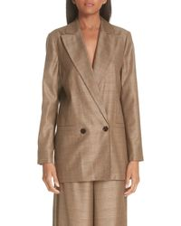 Ganni - Double Breasted Check Silk & Wool Blazer - Lyst