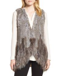 Love Token - Genuine Rabbit & Fox Fur Vest - Lyst
