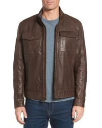 Cole Haan - Washed Leather Trucker Jacket - Lyst