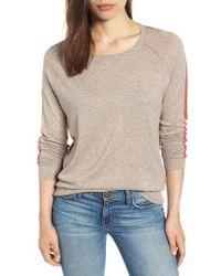 Velvet By Graham & Spencer - Lux Cotton Stripe Sleeve Sweater - Lyst