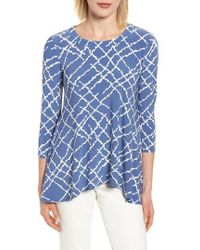 Anne Klein - Squiggle Print High/low Top - Lyst
