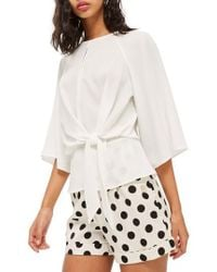 TOPSHOP - Slouchy Knot Front Blouse - Lyst