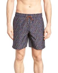 Bugatchi - Fish Print Swim Trunks - Lyst