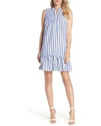 Charles Henry - Stripe Bib Front Sleeveless Shift Dress - Lyst