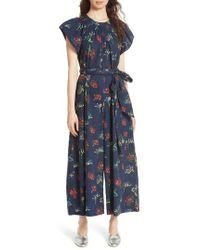 Ulla Johnson - Coralie Floral Print Wide Leg Jumpsuit - Lyst