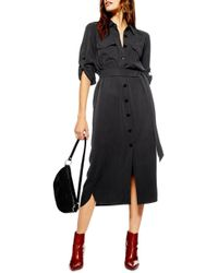 TOPSHOP - Utility Midi Shirt Dress - Lyst
